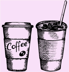 Coffee plastic disposable cup vector