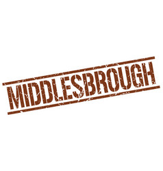 middlesbrough brown square stamp vector image vector image