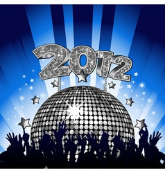 new year party with crowd dancing in front of silv vector image