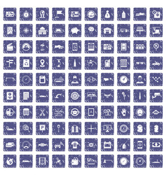 100 auto repair icons set grunge sapphire vector image