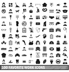 100 favorite work icons set simple style vector image