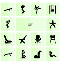 14 sit icons vector