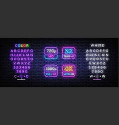 4k 2k ultra hd video resolution set neon signs vector