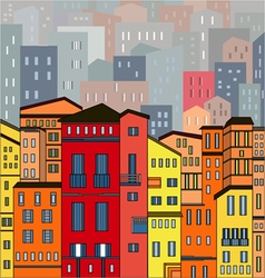 Abstract colored city view in outlines with many h vector image