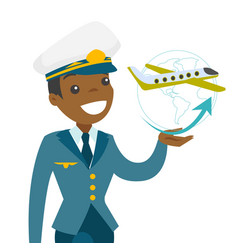 airplane captain in pilot hat vector image