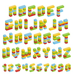 Alphabet set made of toy blocks isolated vector