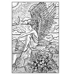 angel engraved fantasy vector image