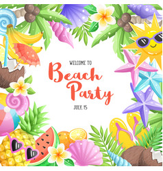 beach party objects vector image