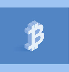 bitcoin sign isometric icon vector image
