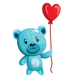 blue bear holding a heart shaped red balloon on vector image