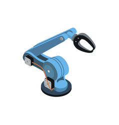 Blue robotic arm on white vector