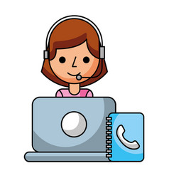 Call center girl lapopt address book vector