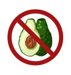 Cartoon avocado in prohibition sign isolated vector