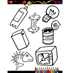 cartoon garbage objects coloring page vector image
