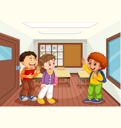 Children in classroom scene vector