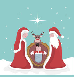christmas card of the birth of jesus vector image