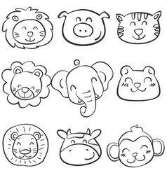 Collection of animal head doodle set vector