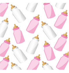 Color silhouette pattern baby bottles with suck vector