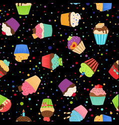 Colorful cupcakes or muffins pattern vector