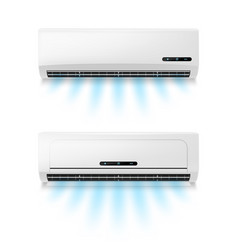 Conditioners realistic air conditioning equipment vector