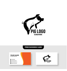 Couple pig logo design and business card template vector
