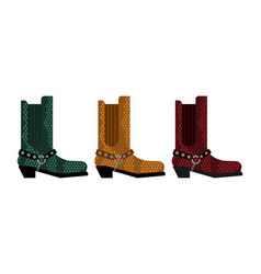 Cowboy boots set australia shoes made crocodile vector