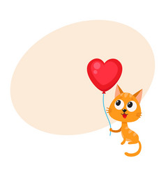 Cute and funny cat kitten holding red heart vector