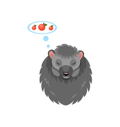 cute hedgehog sleeping and dreaming about apples vector image