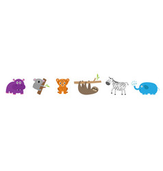 Cute jungle animal set line sloth hippopotamus vector