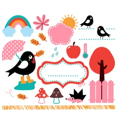 Cute Swallow and autumn elements set vector image