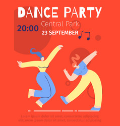 dance party advert festival flat color poster vector image