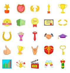 Dear participant icons set cartoon style vector