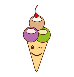 Delicious ice cream cone kawaii character vector