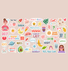 Diary stickers words characters and quotes vector