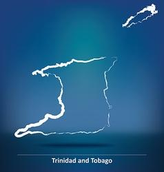 Doodle Map of Trinidad and Tobago vector