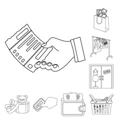 E-commerce and business outline icons in set vector