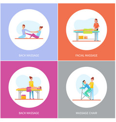 facial and back massage and special chair cartoon vector image