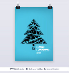 fir tree silhouette carved in paper vector image