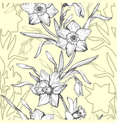 floral graphic seamless pattern with hand drawn vector image