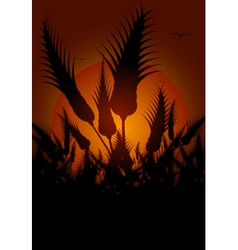 Flowers silhouetted at sunset vector