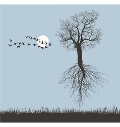 Flying Mulberry tree in the winter vector