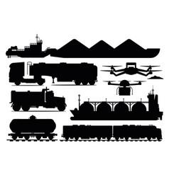 freight transport set industrial transportation vector image