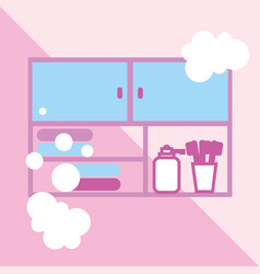 Furniture drawer towels and soap toothbrushes vector