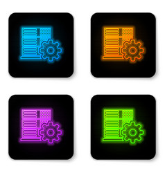 glowing neon server setting icon isolated on vector image