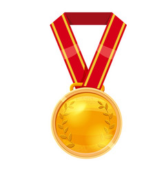 Gold medal red ribbon with relief detail gold vector