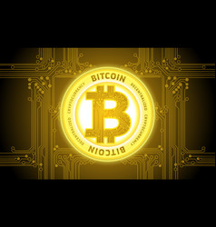 golden bitcoin cryptocurrency abstract background vector image