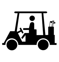 Golf cart crossing silhouette vintage vector