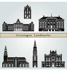 Groningen landmarks and monuments vector image
