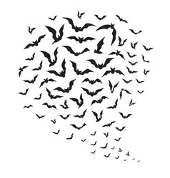 halloween flying bats swarm of bat silhouettes vector image