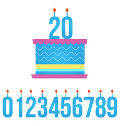 Happy birthday cake with lit candle set of vector